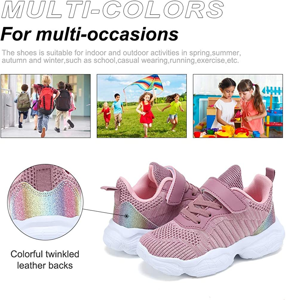 Coolloog Toddler//Little Kid//Big Kid Knitted Sneakers Lightweight Breathable Strap Athletic Running Walking Shoes for Boys Girls