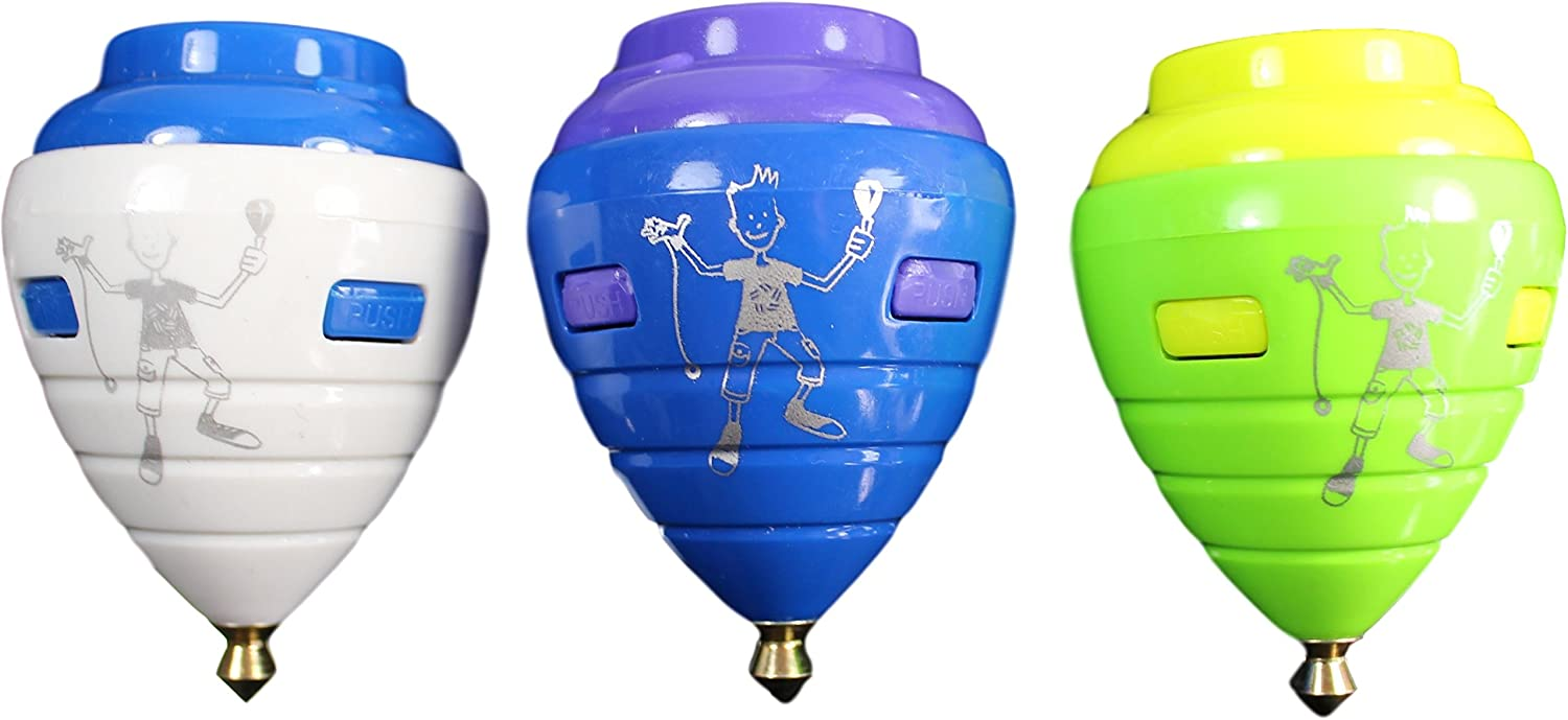 Pack of 3 Assorted Colors Trompo Mexicano Modelo Pro Pl/ástico Durable /& Punta de Metal 3 Pack Pro Model Durable Plastic Spin Tops /& Metal Tip Made in Mexico