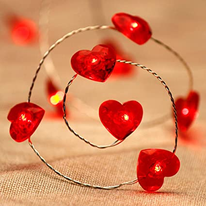 the best attitude 408ac f684c Impress Life Valentine Collection String Lights 10 ft 40 LEDs Red Heart  Fairy Lights Battery Operated with Remote for Anniversary Dinner Date Love  Day ...