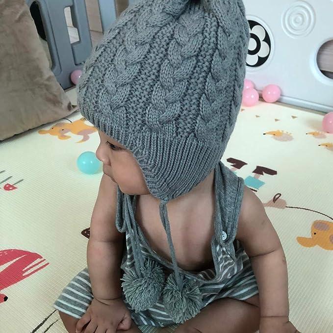 d579f2a6c Cinnamou Gorros Sombreros y Gorras para Bebé niño niña Calentador de Oreja  de Invierno Sombrero Orejas de Gato Tejido cálido Sombrero  Amazon.es  Ropa  y ...