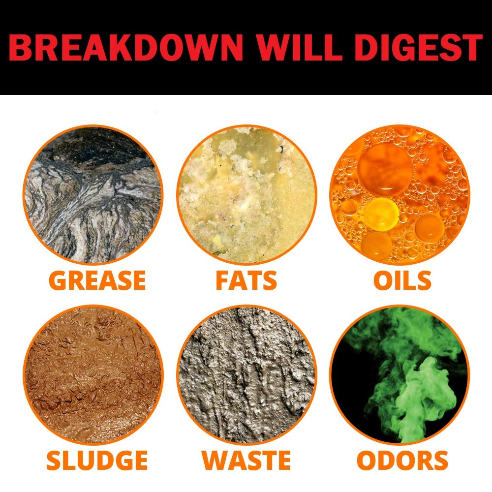 Concentrated Liquid Bacterial ENZYMES - Breaks Down Grease, Paper,Fat & Oil in Drain Lines, Sewer Lines, Septic Tanks, Grease Traps, RV & Boat Tanks & More! Controls Foul Sewer Odors! (1 Gallon) by FDC (Image #3)