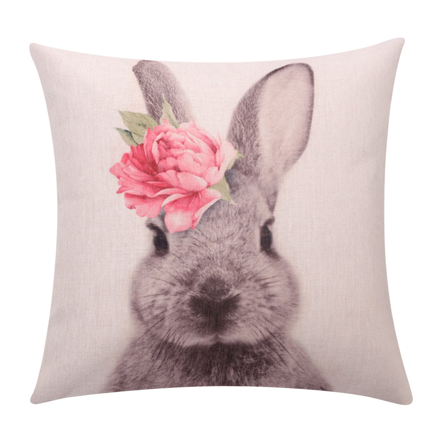BreezyLife Easter Rabbit Throw Pillow Cover Flower Rabbit Decorative Pillow Case Square Linen Cushion Cover for Sofa Couch Outdoor Home Decor Housewarming Gift 18x18 Inches
