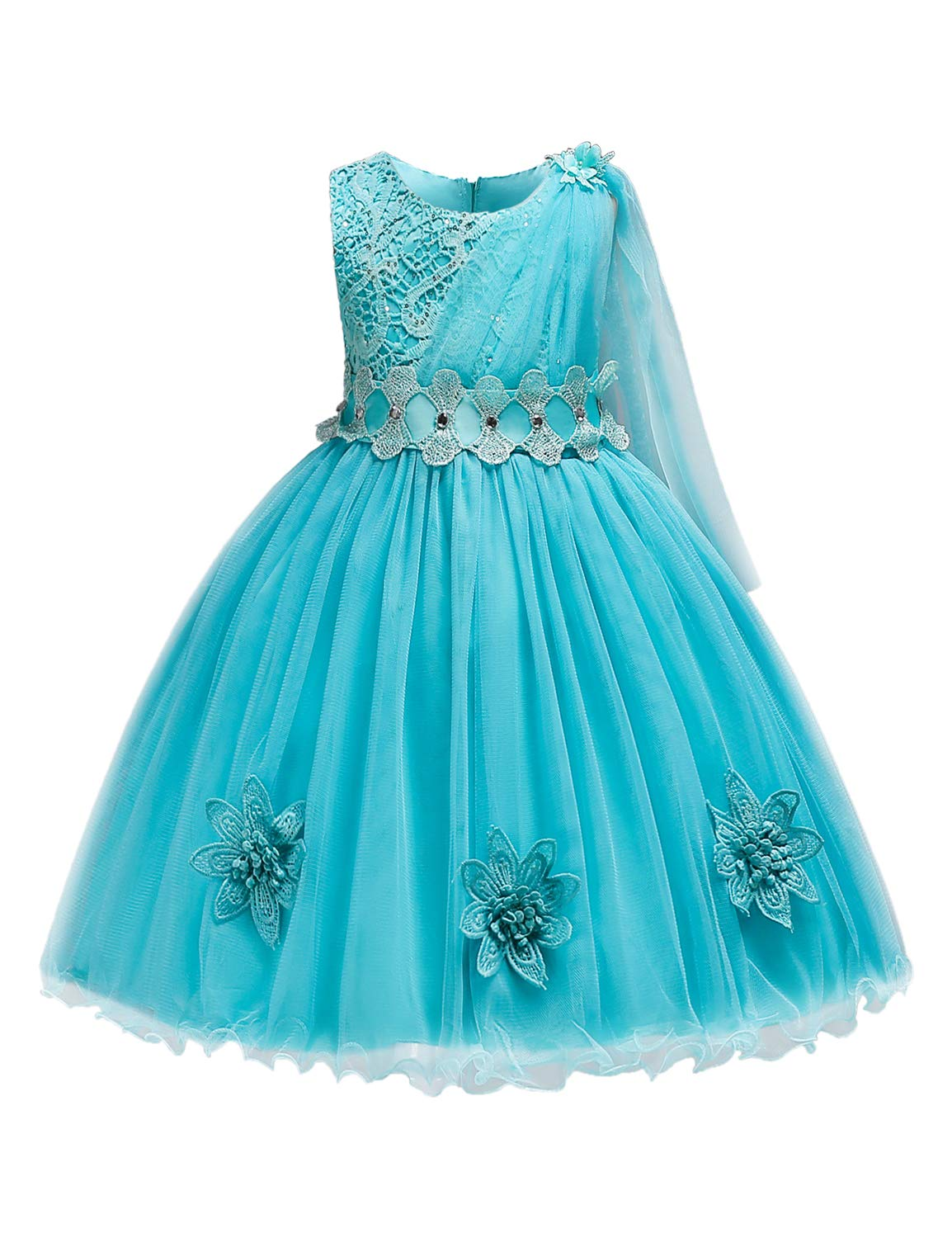 Blevonh Elegant Dresses for Girls,Girl Sleeveless O Neck Multilayered Tulle Lace Appliques Dress Kids Travel Wear Casual Clothes Pageant Top Bodice Ball Gown Blue 140(5-6Y)