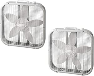 "Lasko 20"" Energy Efficient Basic Box Fan w/3 Speeds & Easy Carry Handle (2 Pack)"