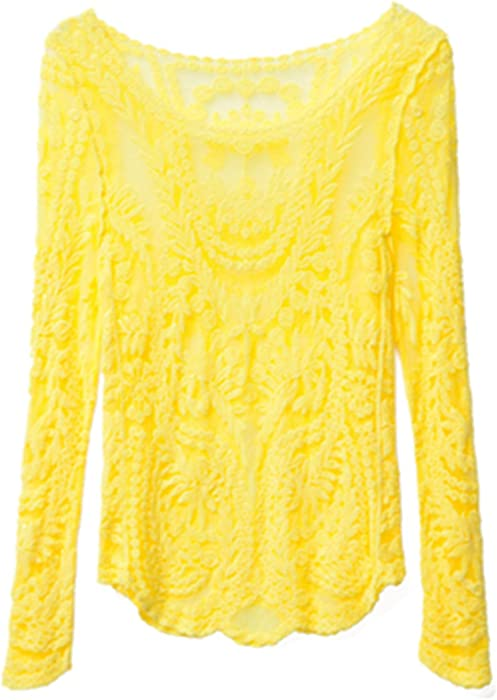03be8e06a4dad7 Michael Palmer Women Sexy Lace blouse full sleeves 9 Color Crochet tops  blouse Yellow XXL