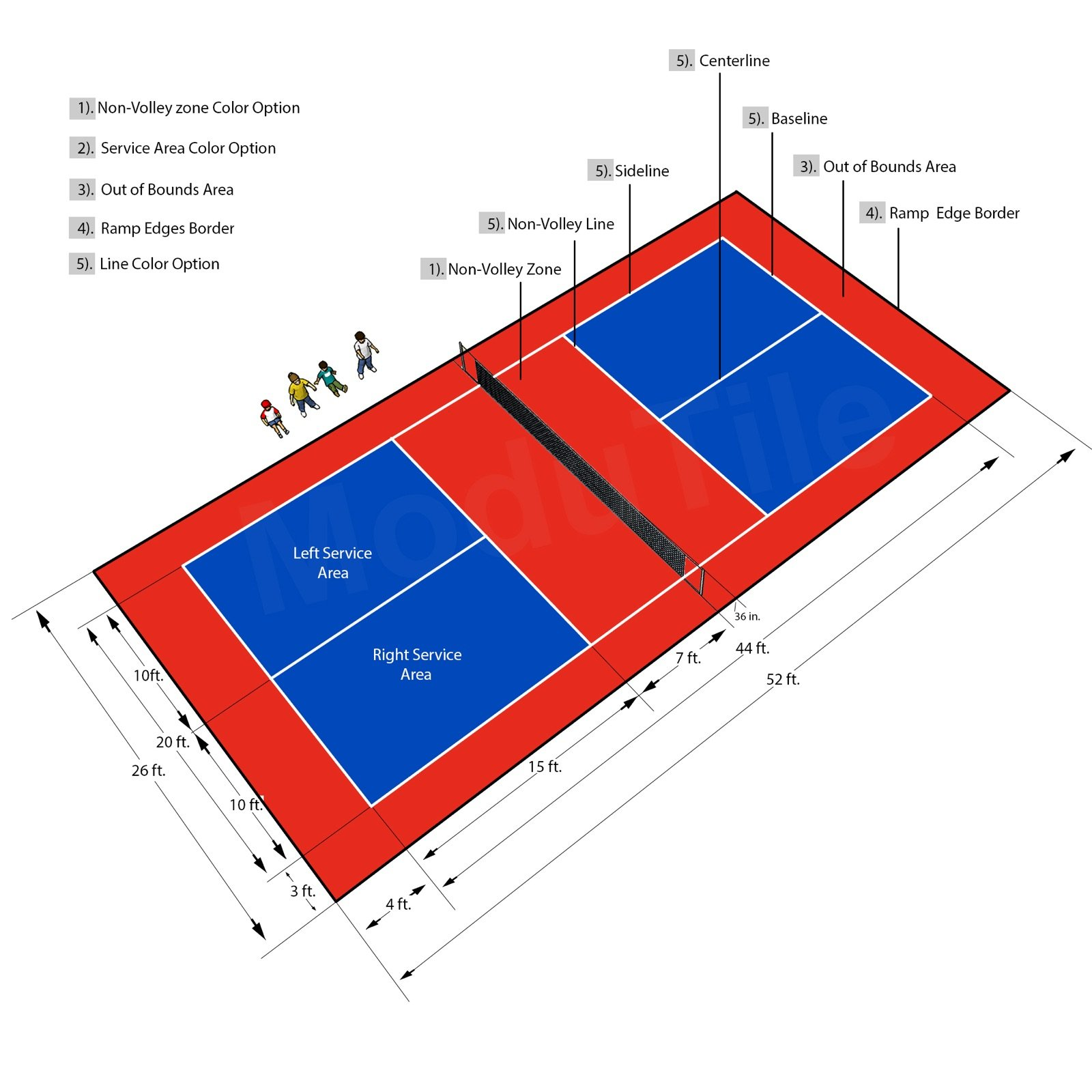 26ft x 52ft Outdoor Pickleball Court Flooring Lines and Edges Included - Red/Blue by BlockTile