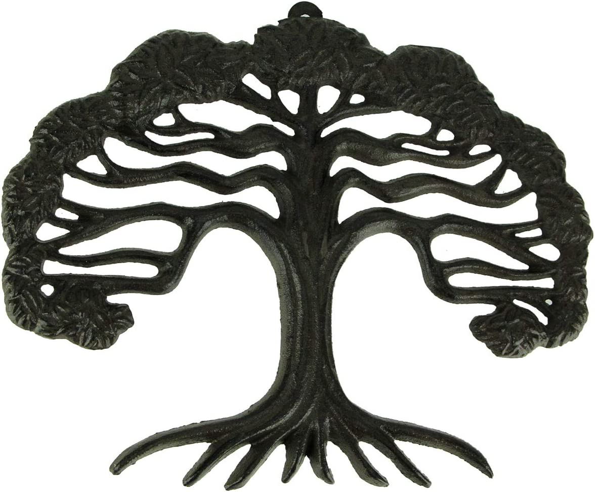 DeLeon Collections Rustic Brown Cast Iron Tree of Life Wall Sculpture Small