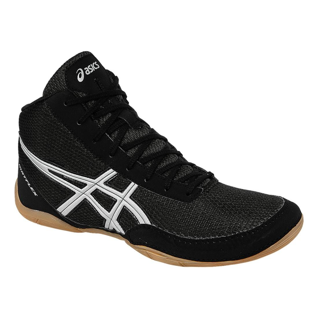 ASICS Men's Matflex 5 Wrestling Shoe, Black/Silver, 7 M US