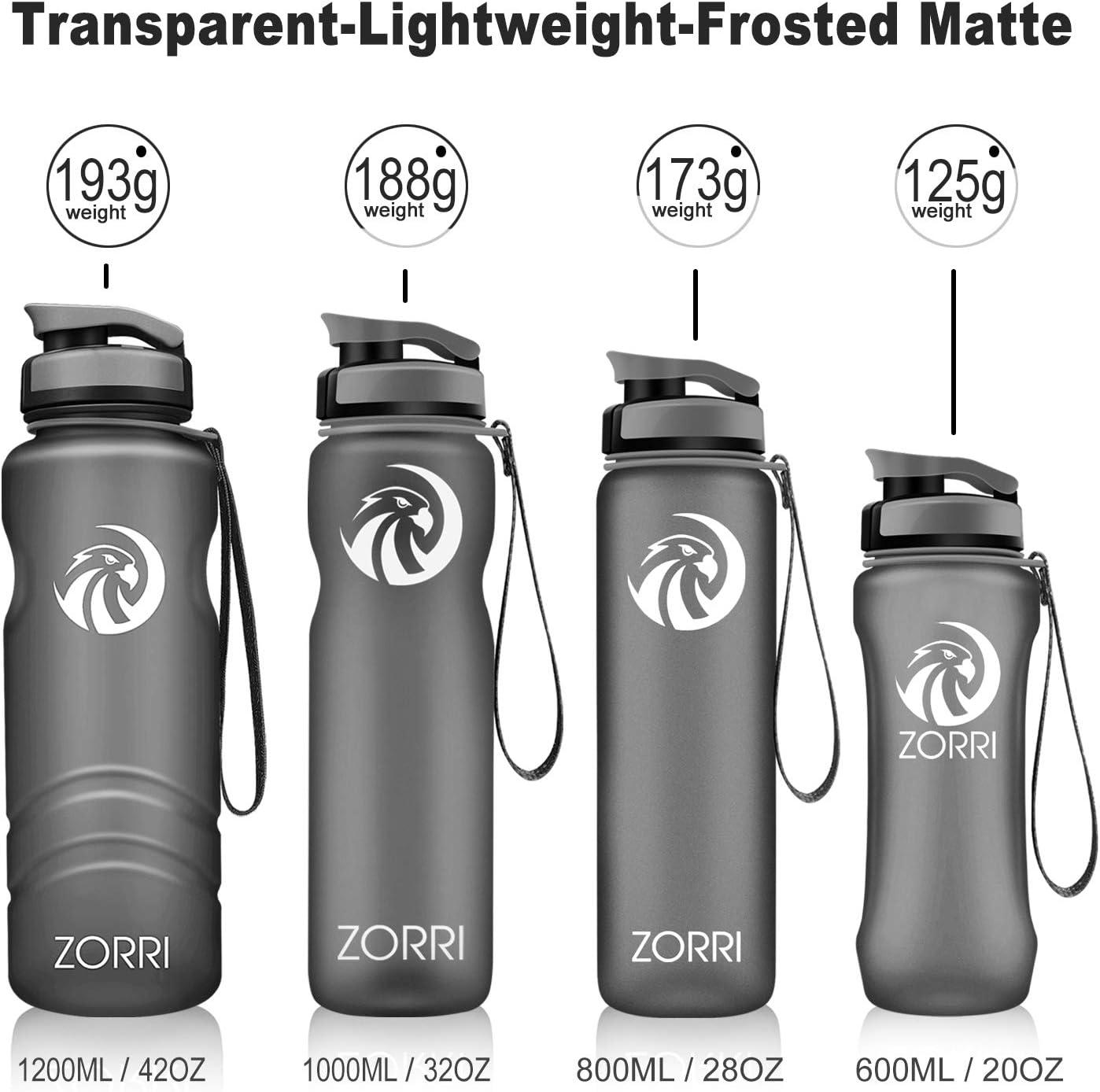 Tritan Sin BPA /& Reutilizable Ecol/ógico Pl/ástico con Filtro para Ni/ños,Apertura con un Solo bot/ón-C/ámping,Senderismo,Viajes,Oficina,Colegio 1l//1.2 Litro//800ml// 600ml ZORRI Botella de Agua Deportiva