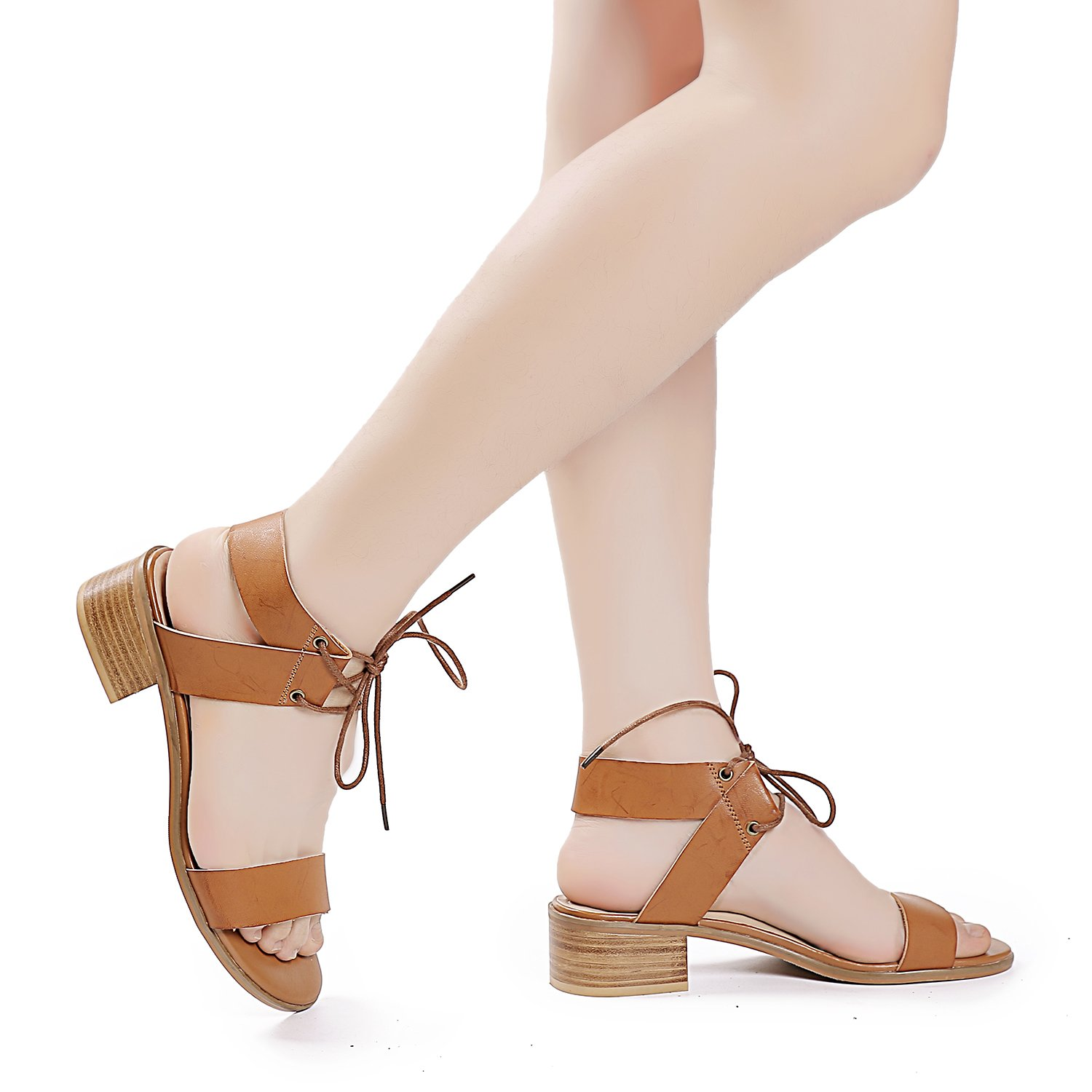 Luoika Women's Wide Width Heeled Sandals - Comfortable Open Toe Ankle Strap Flexible Pump Summer Shoes(180331,Brown,8.5WW