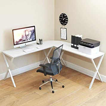 Ryan Rove Keeling X Glass Large Modern L Shaped Desk Corner Computer Office Desk For Small Pc Laptop Study Table Workstation Home Office With Keyboard