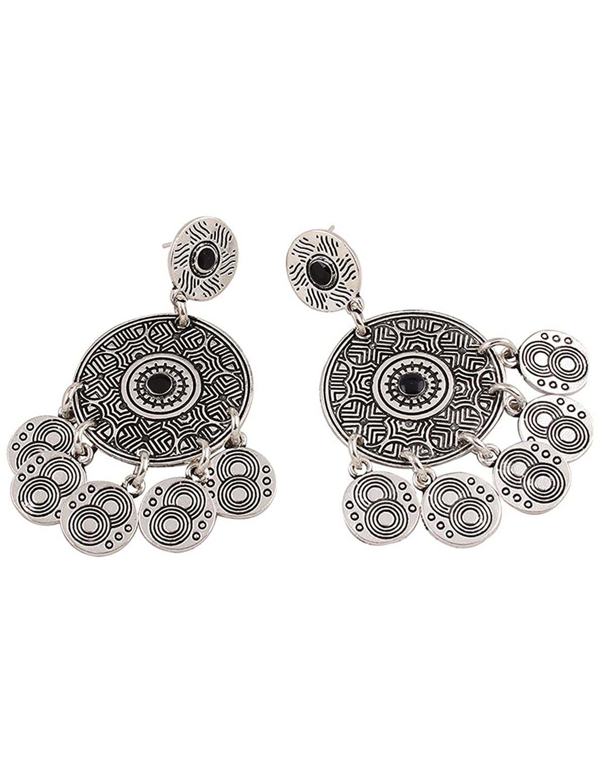 Young /& Forever Girls Valentine Tribal Muse Collection Burnished Silver Mandala Disc Earrings