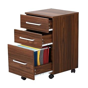 Superior 3 Drawer Wood File Cabinet With Wheels By DEVAISE In Black/Walnut (Walnut)