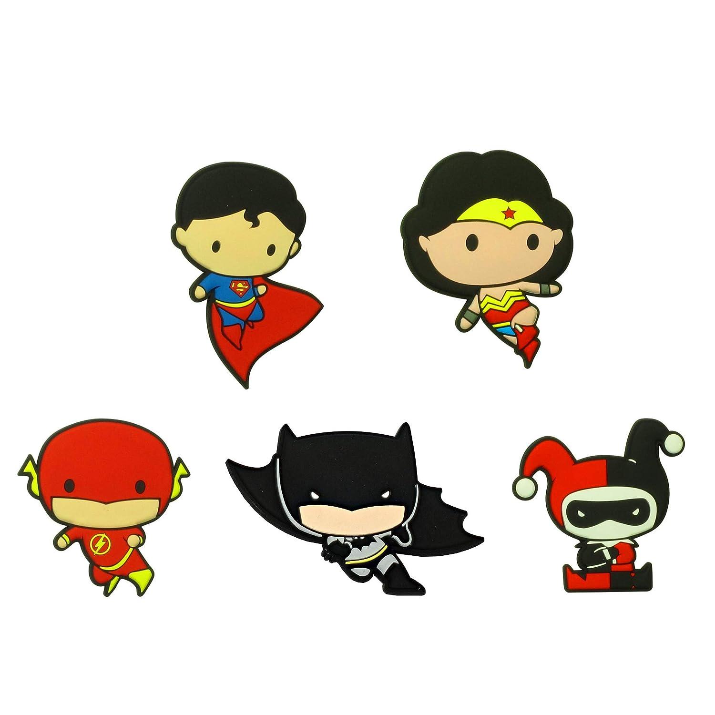 Retail Sales Solutions DC Comics Justice League Chibi Mega Refrigerator Magnet Set - Batman, Wonder Woman, Flash, Super Man, Harley Quinn