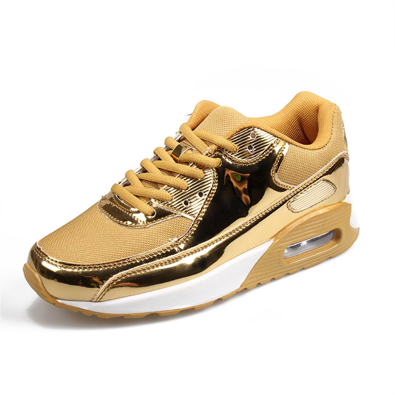 XINGLAN Men Women Unisex Couple Casual Running Sneakers Breathable Athletic Air Cushion Sports Shoes B073QVWJ45 Women 9.5 B(M) US / Men 8 D(M) US|Gold