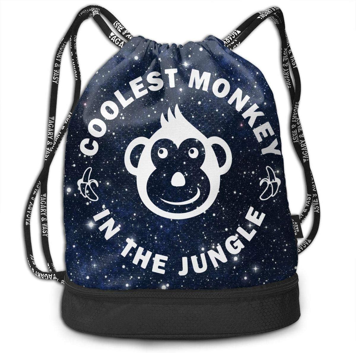 Coolest Monkey Men//Women Drawstring Backpack Beam Mouth Sport Bag Shoulder Bags