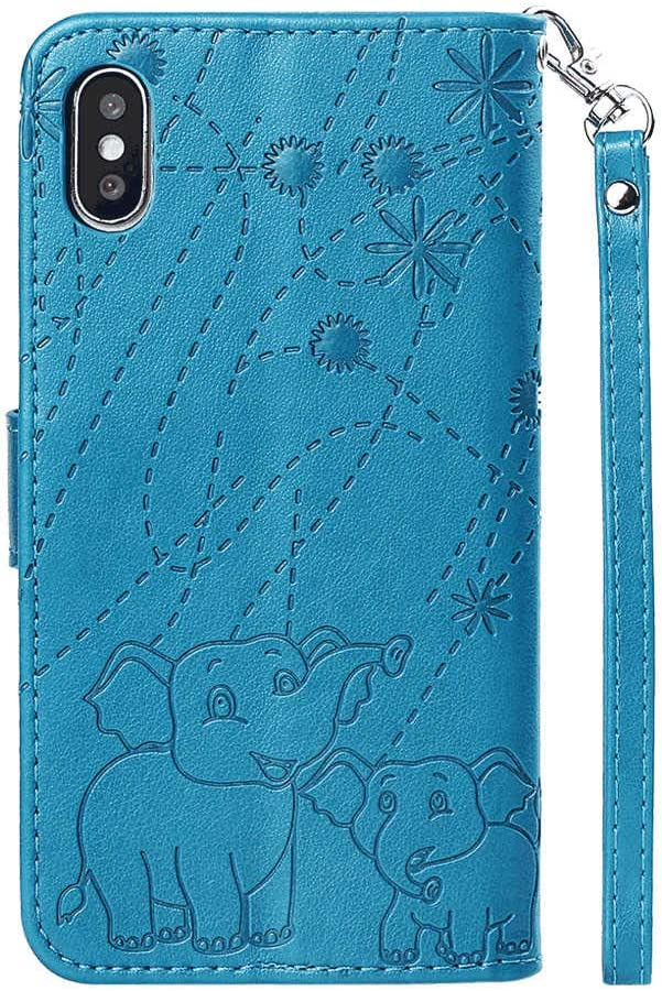 Blue Wallet Case for iPhone X PU Leather Flip Cover Compatible with iPhone X