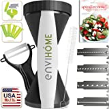 All New 4-in-1 enviHome Vegetable Spiralizer Super Zoodle Maker with Bonus Recipe E-Book - The Best 4 Blade Spiral Veggie Slicer 2016 - Zucchini Spaghetti Pasta Noodle Cutter & Ceramic Peeler Bundle