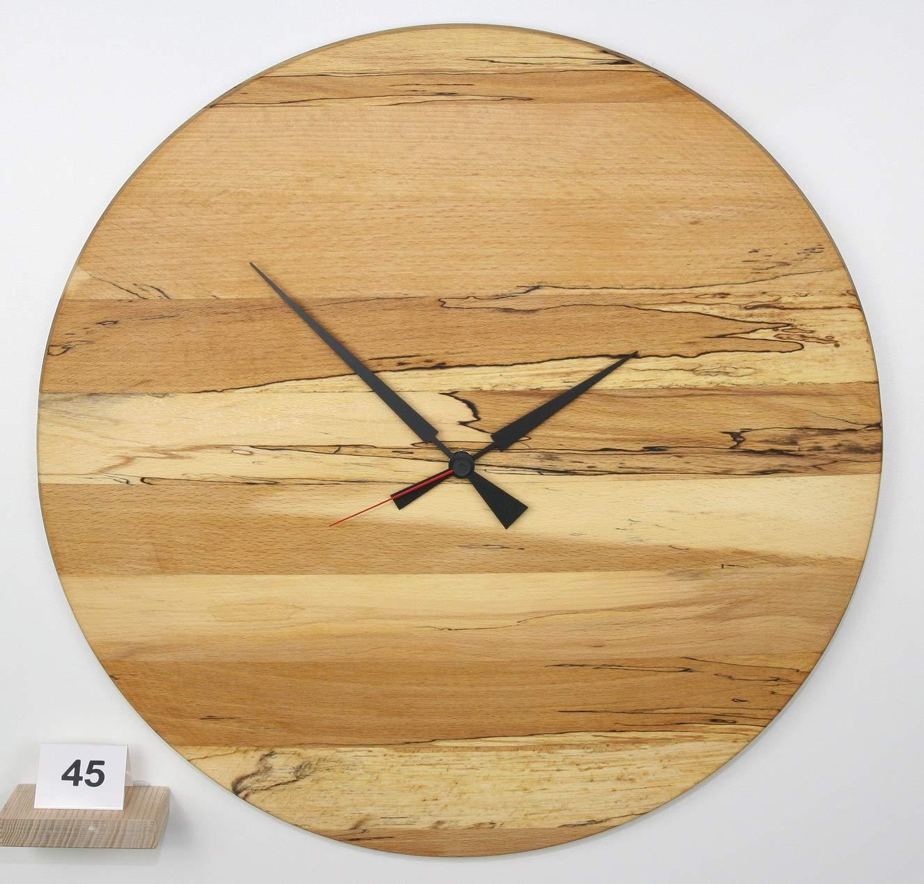 Uhr Wanduhr aus gestockter Buche Holz konvex lautlos Durchmesser 48cm