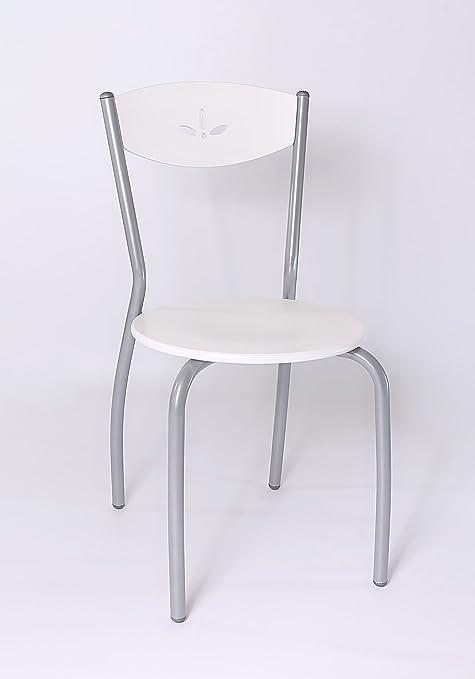 Stil Sedie Sedia Cucina Modello Fiore sedie per Cucina e Sala da Pranzo Moderne, con Robusta Struttura in Acciaio Seduta e Schienale in Legno