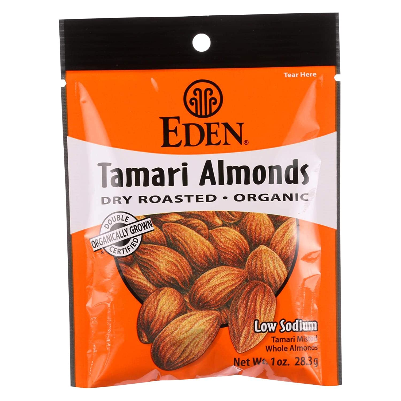 Eden Foods Organic Dry Roasted Tamari Almonds, 1 Ounce - 12 per case.