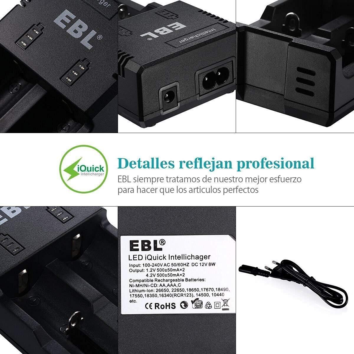 EBL Cargador con 2 Ranuras para Pila de Litio 18650 26650 14450 y Ni-MH Ni-CD AA AAA C Pilas Recargables con iQuick Tecnología