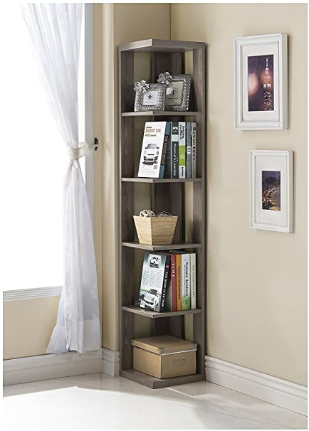 White Grey Finish Two Tone Wood Wall Corner 5 Tier Bookshelf Bookcase
