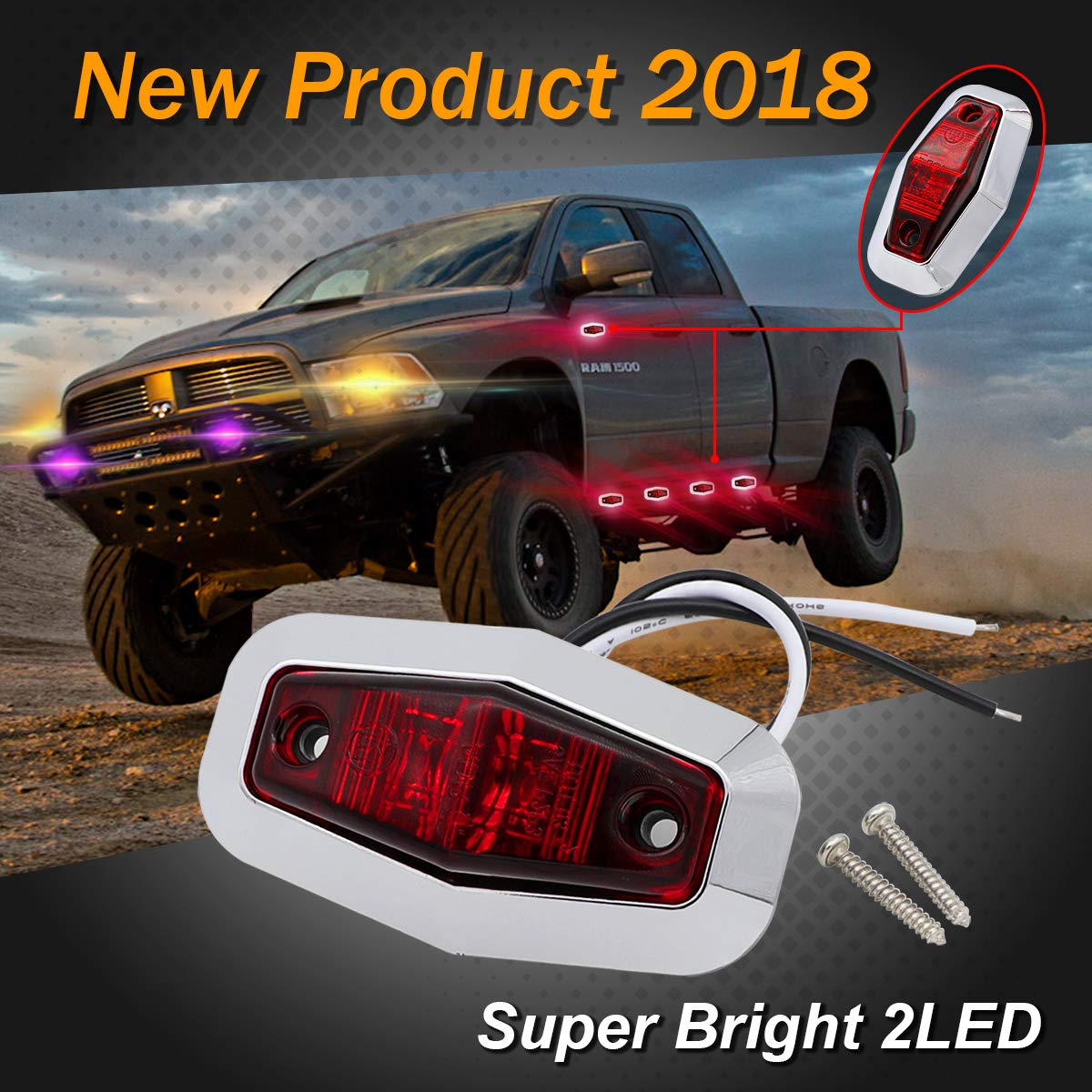 2 Red 2 White Sealed Bulb Universal Lights Side Marker LED Clearance Lamp Surface Mount Lorry Bus Truck Trailer Boat SUV Car Van Waterproof 12v DC AA12 2.5 Inch Mini 2 Amber Meerkatt Pack of 6