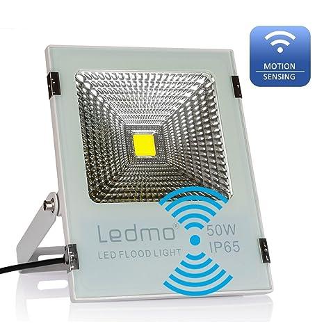 LEDMO Sensor de Foco led 50W , Radar de inducción foco led,Blanco de fundición
