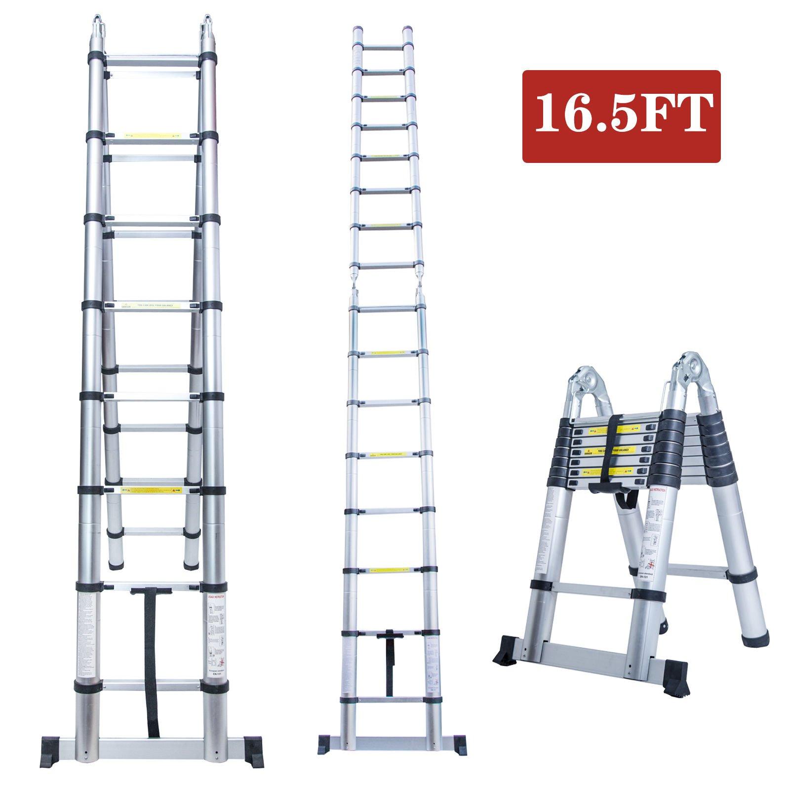 16.5FT A Frame Aluminum Multi-Purpose Folding Telescopic Telescoping Ladder Extension Foldable Portable Heavy Duty - EN131 Certified - 330 Pound Capacity