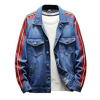 FRAUIT Herren Retro Distressed Denim Jacke Knopfmantel Patchwork Streifen Jeansjacke Cowboy Coat Vintage Männer Zerrissene Je