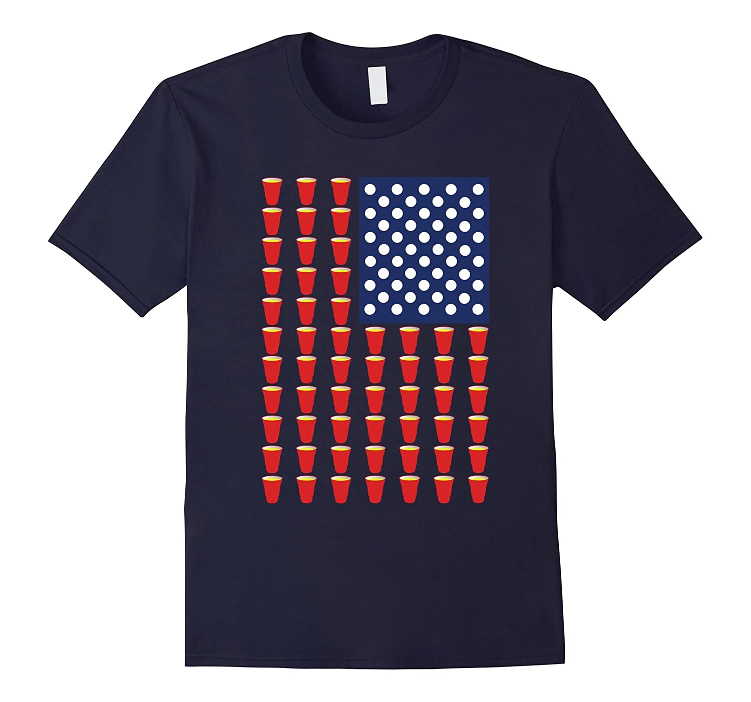 America Beer Pong USA Flag T-Shirt-Vaci