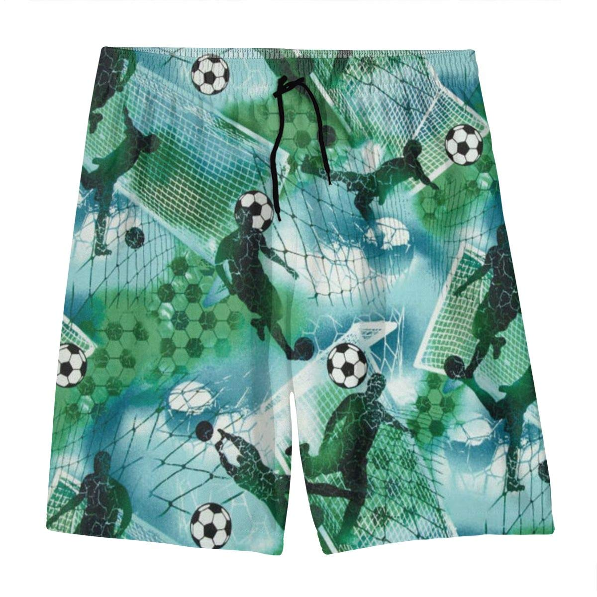 Hkany Sports Soccer Boy Soccer Blue Green Teenager Boys Beachwear Beach Shorts Pants Board Shorts