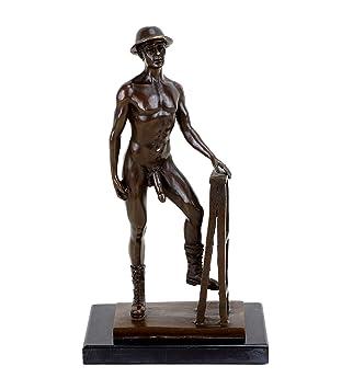 Antike Originale Vor 1945 Bronze Skulptur Sammlerstück Statue Erotik Nackte Sexy Girl Bronze Skulptur