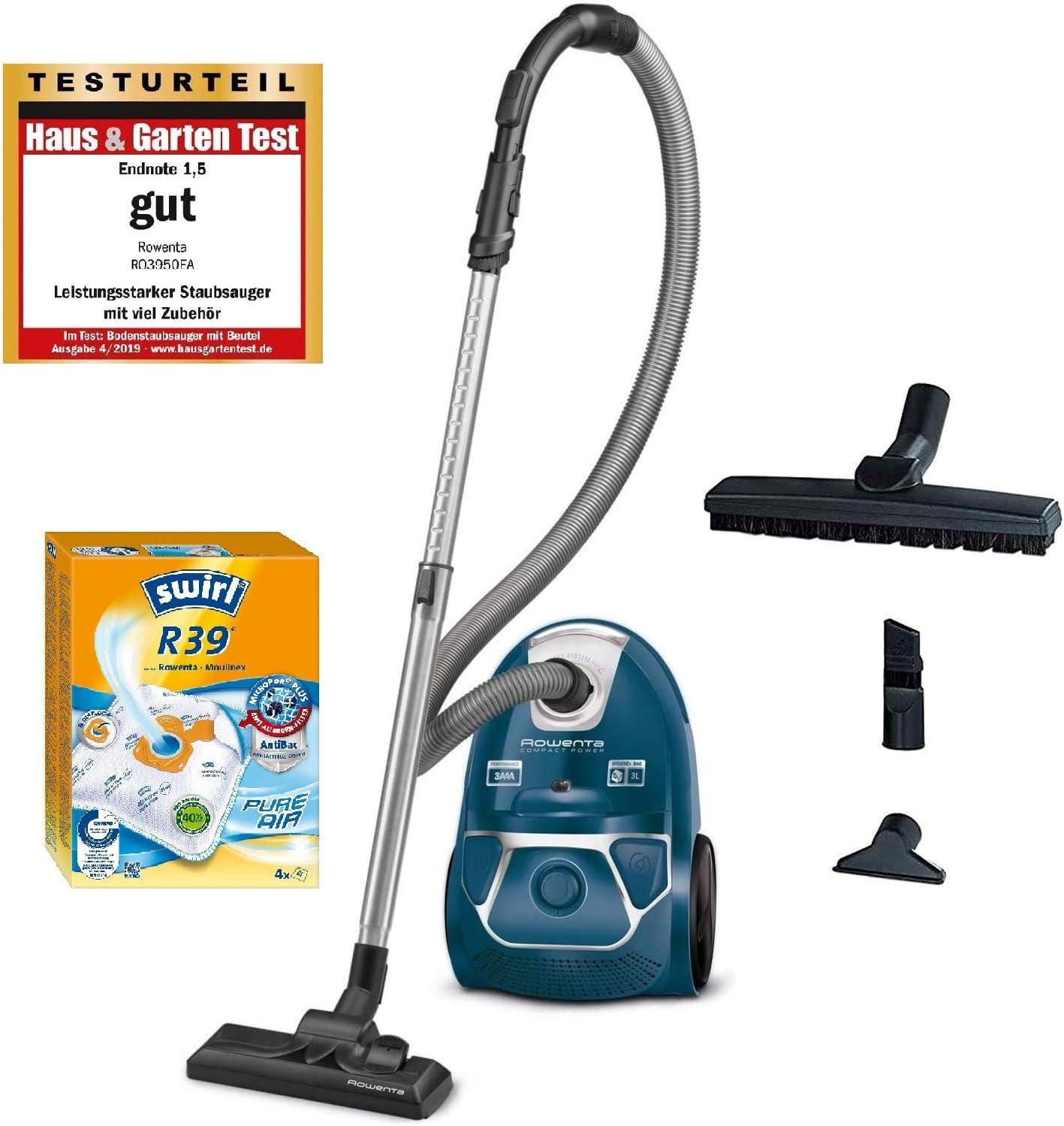 Rowenta RO3950 - Aspiradora con bolsa, 750 W=2000 W, extremadamente silenciosa, filtro higiénico, con boquilla para parqué, color azul: Amazon.es: Hogar