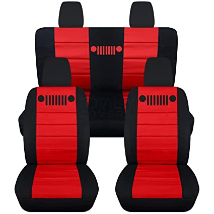 Jeep Wrangler Seat Covers >> 2011 2018 Jeep Wrangler Jk Seat Covers Black Red Full Set Front Rear 23 Colors 2012 2013 2014 2015 2016 2017 2 Door 4 Door Complete Back
