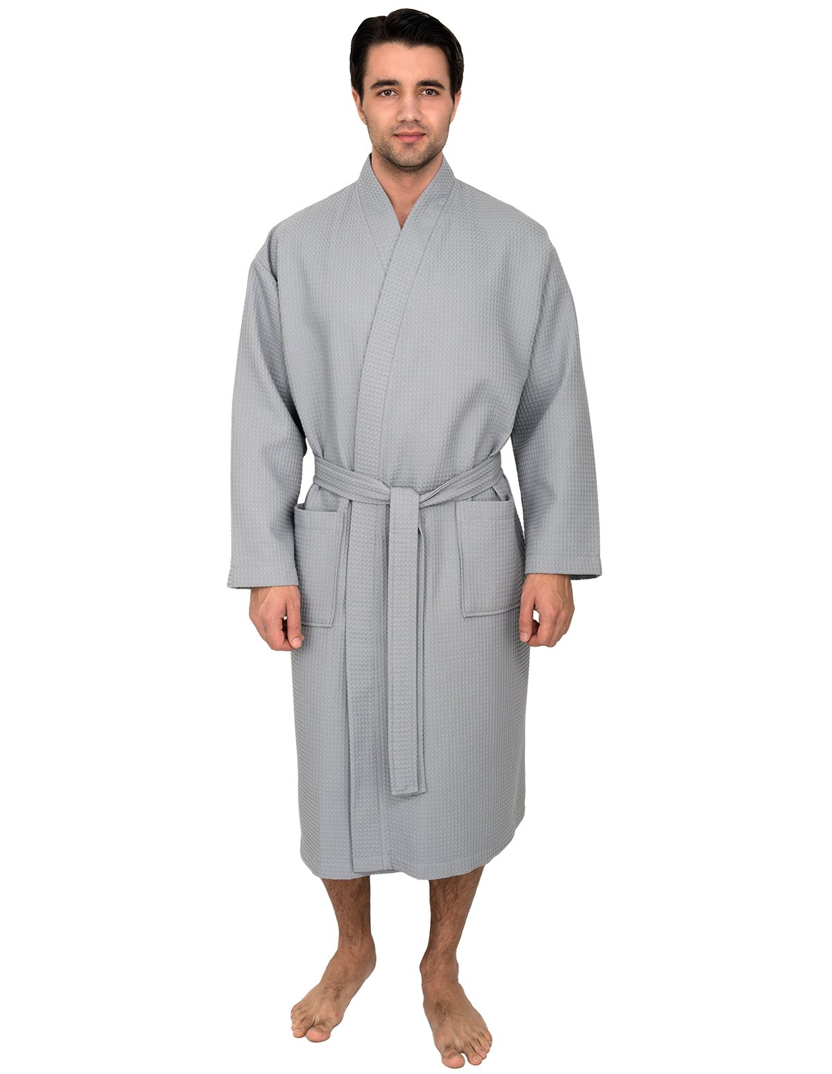 TowelSelections Men's Waffle Bathrobe Turkish Cotton Kimono Robe Large/X-Large Quarry
