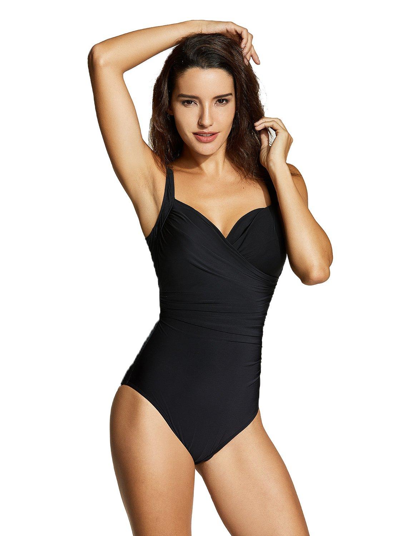 Delimira Women's Plus Size Tummy Control One Piece Underwire Swimsuit
