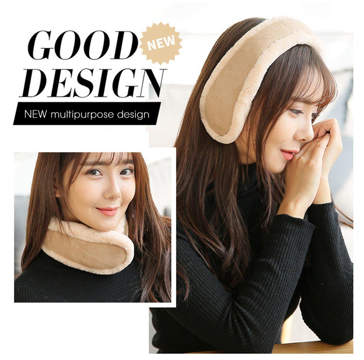 Knolee NEW Unisex Multi-function Earmuffs Earflap Foldable Outdoor Ear Muffs,Beige One Size by Knolee (Image #2)