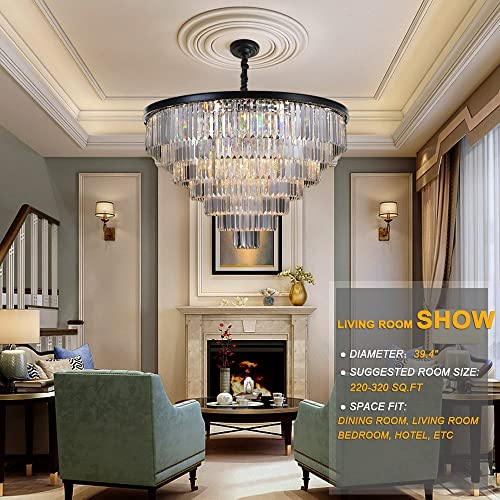 Meelighting 24 Lights Empress Crystal Chandelier Lighting Modern Contemporary Chandeliers Pendant Ceiling Lamp Lights Fixture 7-Tier