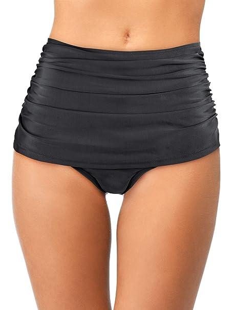 Pantalones Cortos de Natación Retro de Mujeres Braguita de Bikini Fruncida de Alta Cintura Bañador de Tankini para Vocaciones