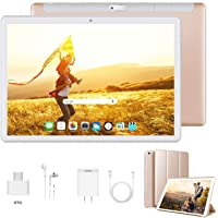 Tablet 10 Pulgadas Android 9.0 Ultrar-Rápido Tablets 4G Dual SIM / WiFi 3GB RAM 32GB/128GB ROM 8500mAh Batería Quad Core (GPS, Bluetooth, OTG, Netfilix,Type-C)-Certificado por Google GMS, Dorado