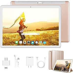 Tablet 10 Pulgadas Android 9.0 Ultrar-Rápido Tablets 4G Dual SIM / WiFi 3GB RAM 32GB/128GB ROM 8500mAh Batería Quad Core (GPS, Bluetooth, OTG, Netfilix,Type-C)-Certificado por Google GMS, Dorado: Amazon.es: Informática