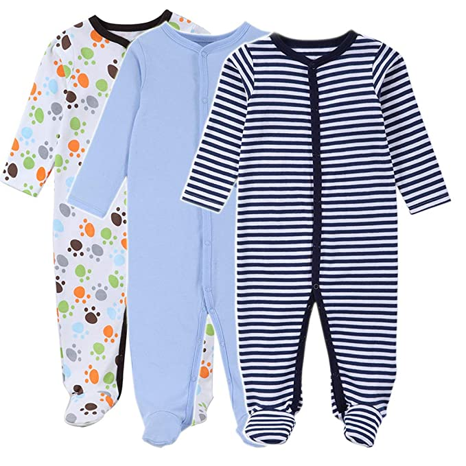 65e17f806 3 Pack Baby Boys Footed Long Sleeve Rompers Sleeper Pajamas  Amazon ...