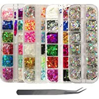 4 Boxes Holographic Nail Sequins Shapes Mixed Iridescent Glitter Flakes Butterfly Hearts Star DIY Design Manicure Nail…