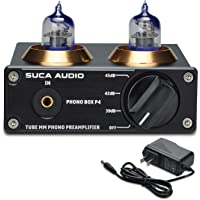 Phono Preamp for Turntable, SUCA-AUDIO 6J2 Vacuum Tubes MM RIAA Phonograph Stage Preamplifier Mini Hi-Fi Stereo Preamp for LP Vinyl Recorder Player Turntable Home Audio with 12V Power Supply