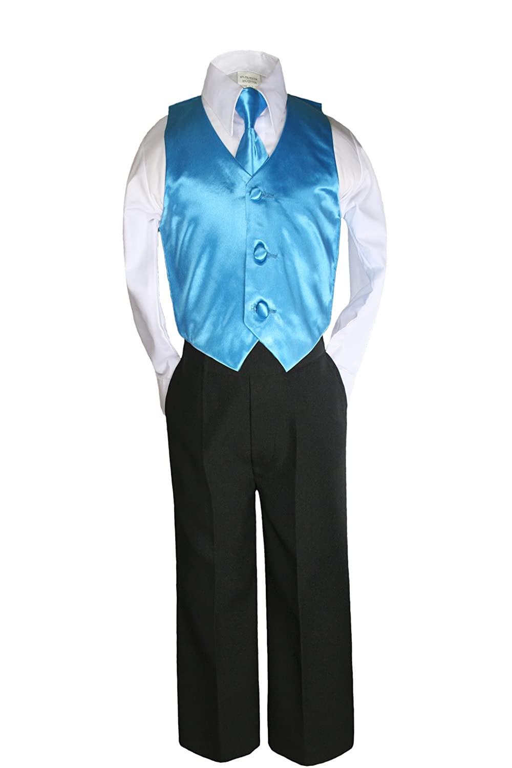 Unotux 7pc Boys Black Suit with Satin Turquoise Vest Set from Baby to Teen