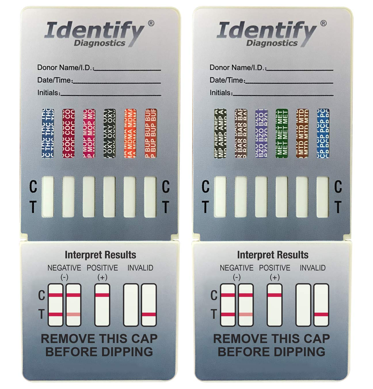 10 Pack Identify Diagnostics 12 Panel Drug Test Dip - Testing Instantly for 12 Different Drugs THC, COC, MOP, OXY, MDMA, BUP, AMP, BAR, BZO, MET, MTD, PCP ID-CP12-DIP (10)