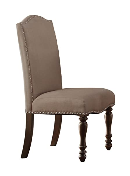 Homelegance Benwick Upholstered Fabric Dining Chairs With Nail Heads Trim  Beige, Set Of 2