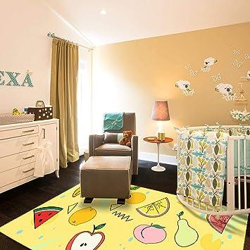 Kid Bedroom Rug, 4\'x 6\' YAMTION Boys and Girls Area Rug, Large Vibrant  Yellow Soft Children Carpet, Non Slip Indoor Fancy Fruit Modern Rugs for  Living ...